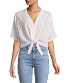 Thea Striped Cotton Tie-Front Top