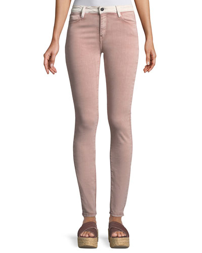 Adone Emma Contrast-Waistband Skinny Jeans