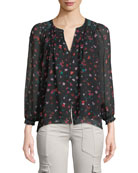 Gontilda Silk Floral Long-Sleeve Top