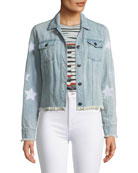 Cupcakes and Cashmere Affleck Frayed Denim Jacket