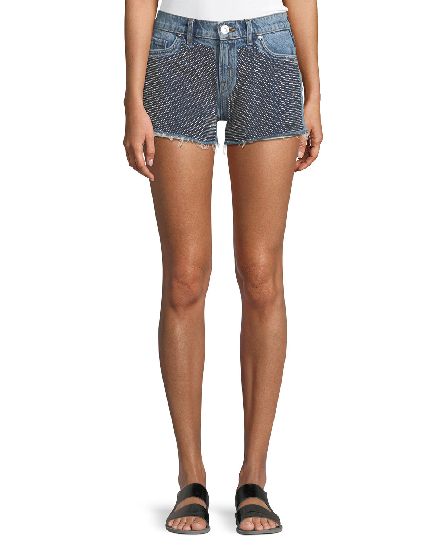 Kenzie Studded Cutoff Denim Shorts