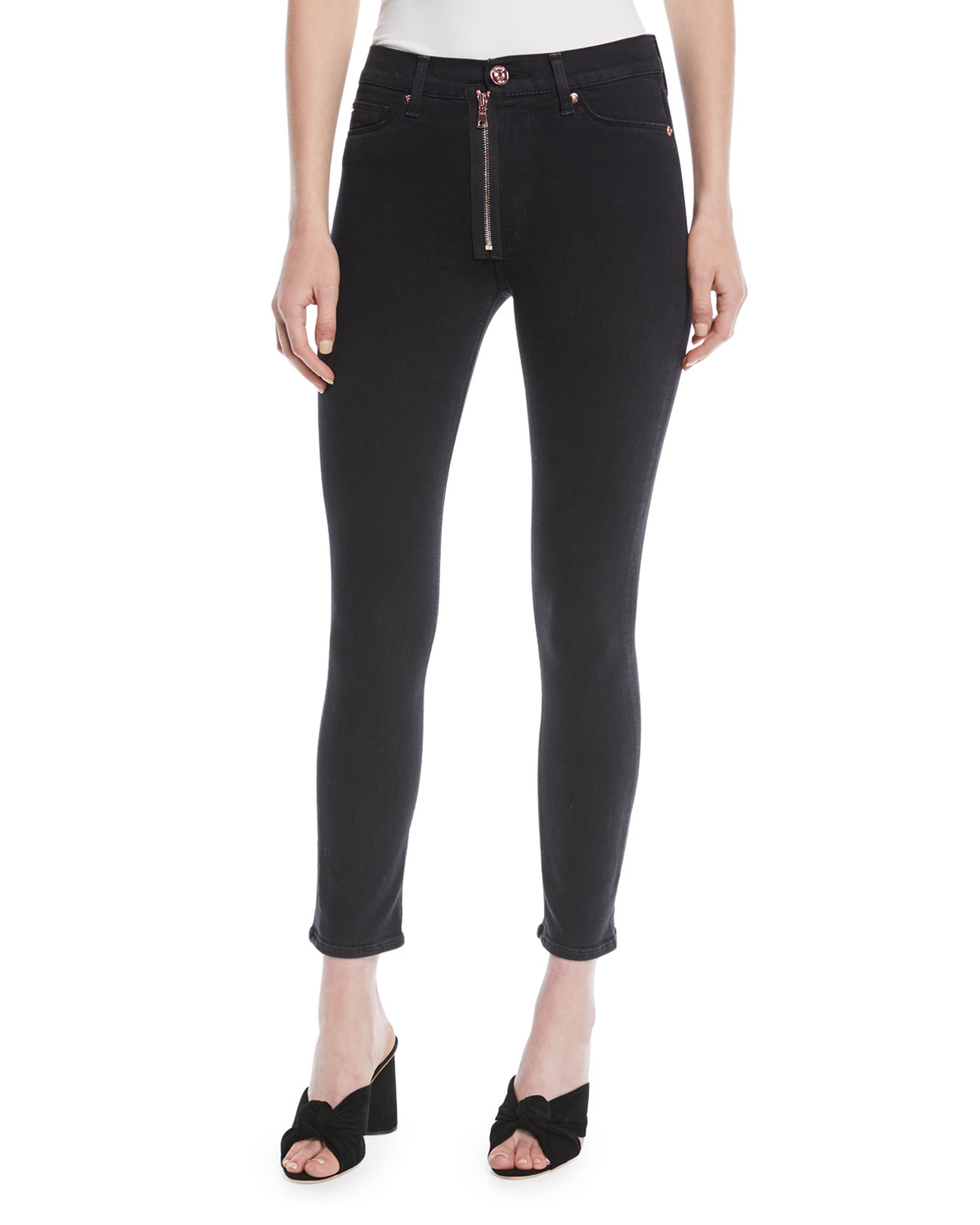 Barbara High-Rise Super Skinny-Leg Ankle Jeans w/ Exposed Zip