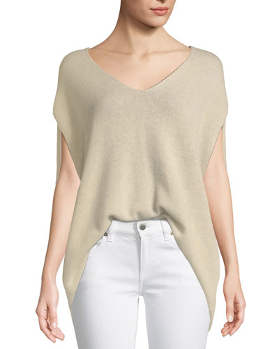 V-Neck Cashmere Cape Sweater