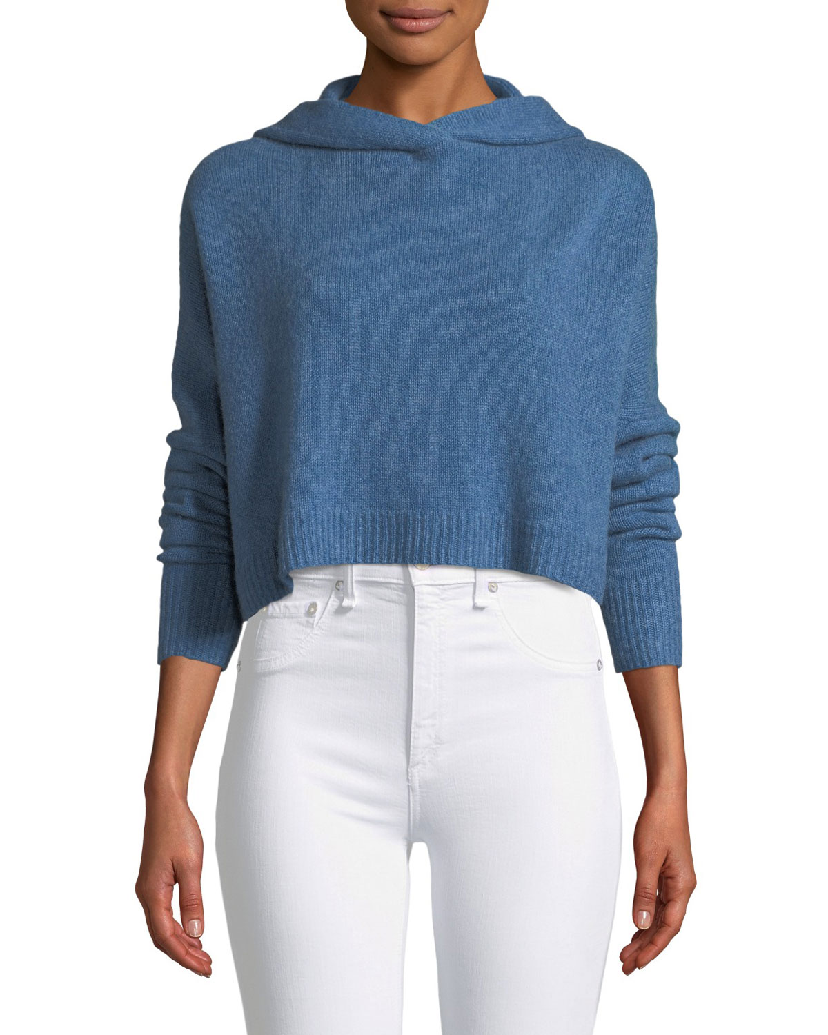 Halo Cropped Hooded Cashmere Sweater, Blue