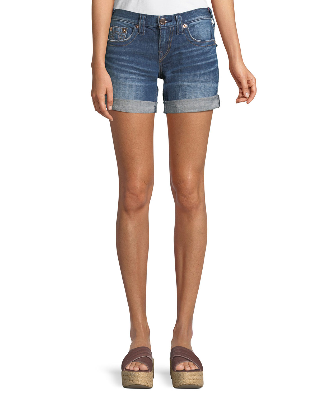 Jayde Mid-Rise Rolled-Hem Denim Shorts with Flap Pockets