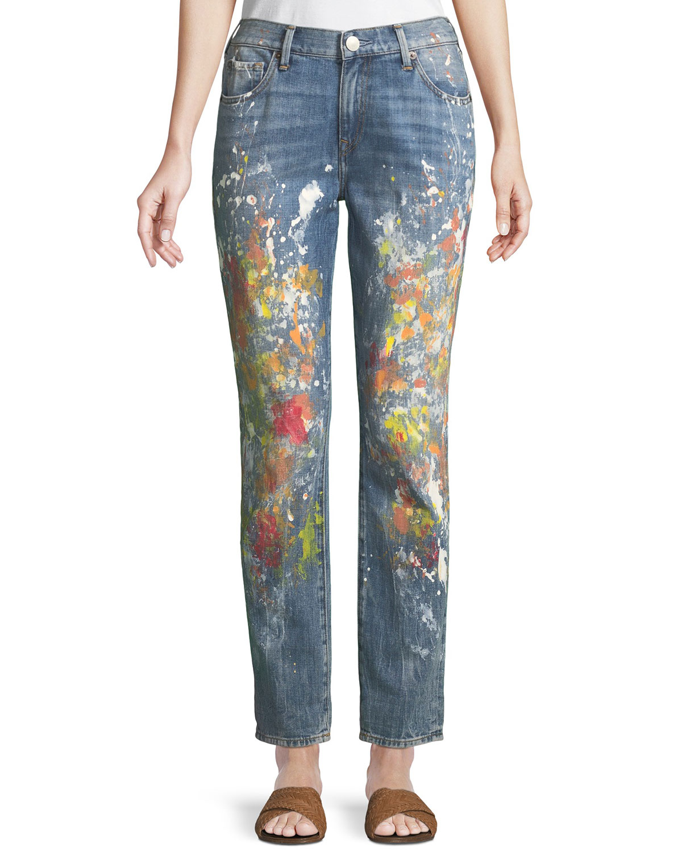 Cameron Slim Boyfriend Paint-Splatter Jeans