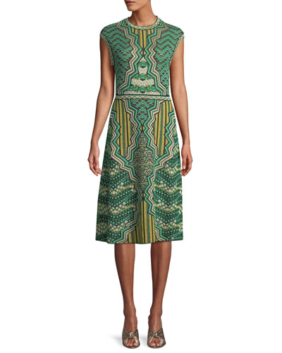 Graphic Jacquard Cap-Sleeve Midi Dress