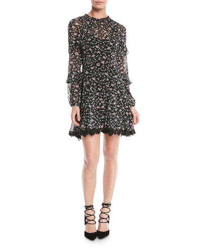 Unwavering Glamour Long-Sleeve Floral Mini Dress