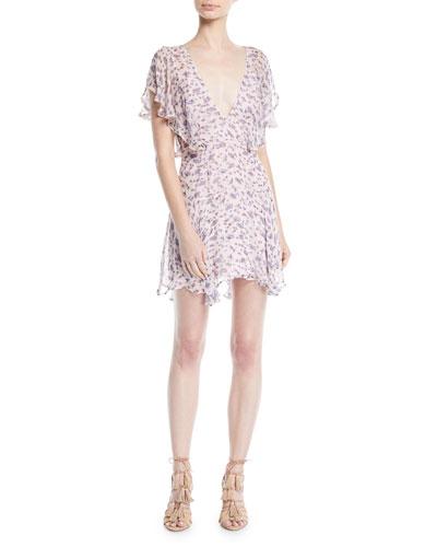 Incandescent Floral Ruffle Mini Dress