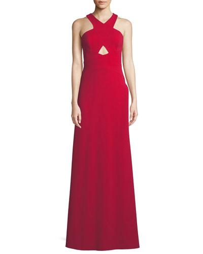 Scuba Crepe Cutout Halter Gown