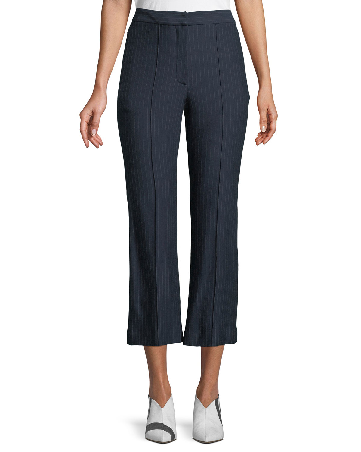 Jane Pinstripe Cropped Boot-Cut Pants