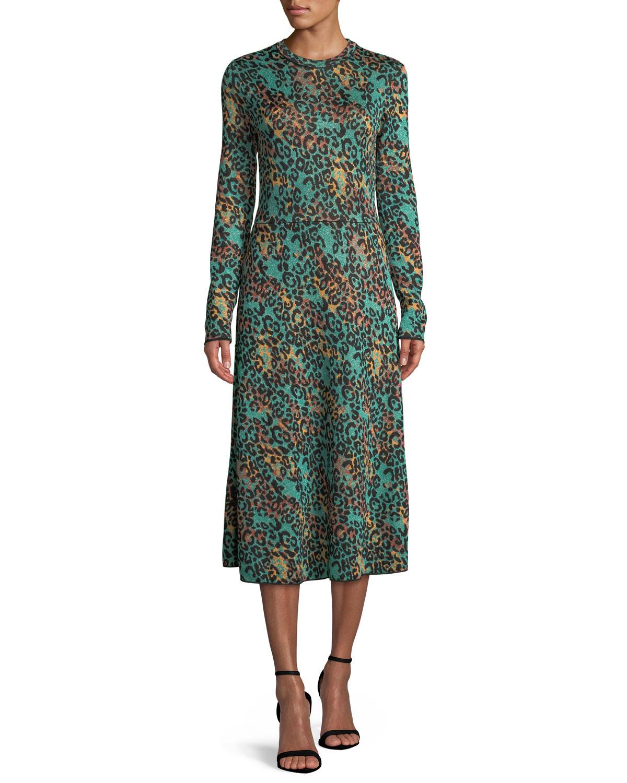 Metallic Animal-Print Long-Sleeve Dress