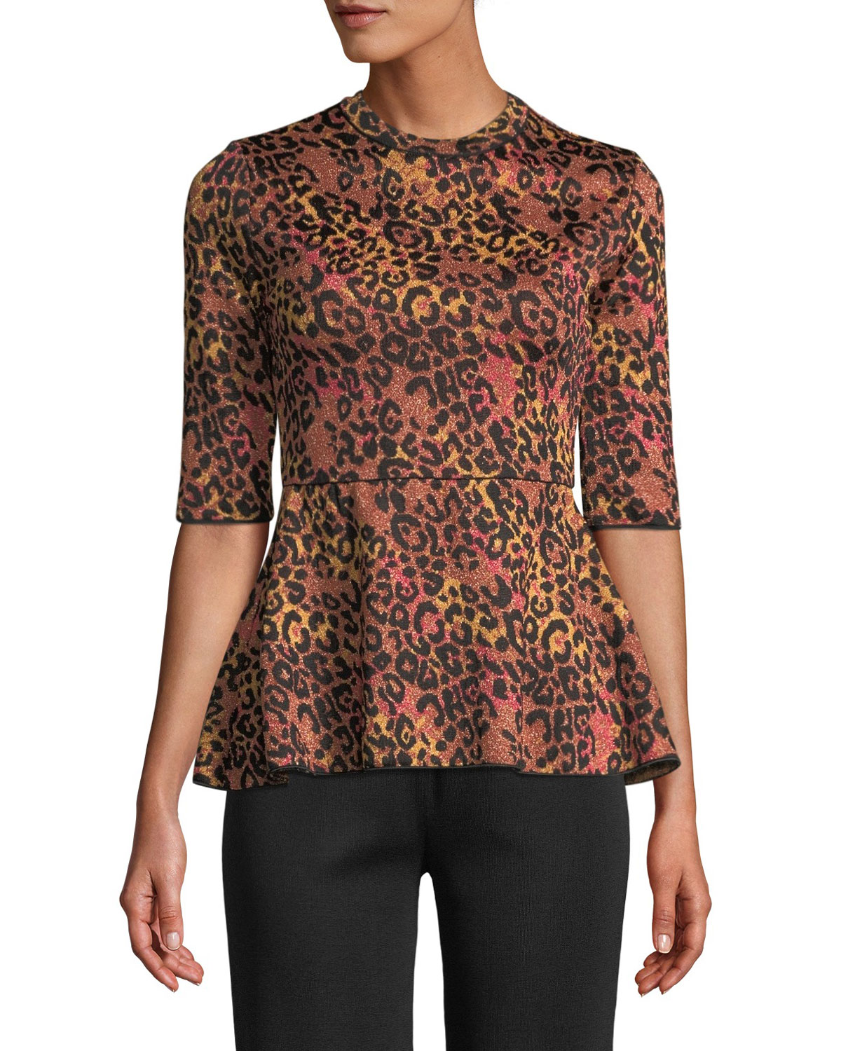 Metallic Animal-Print Peplum Top