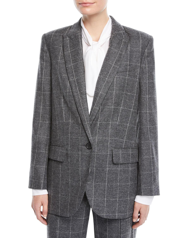 James Scholastic Plaid Wool Blazer