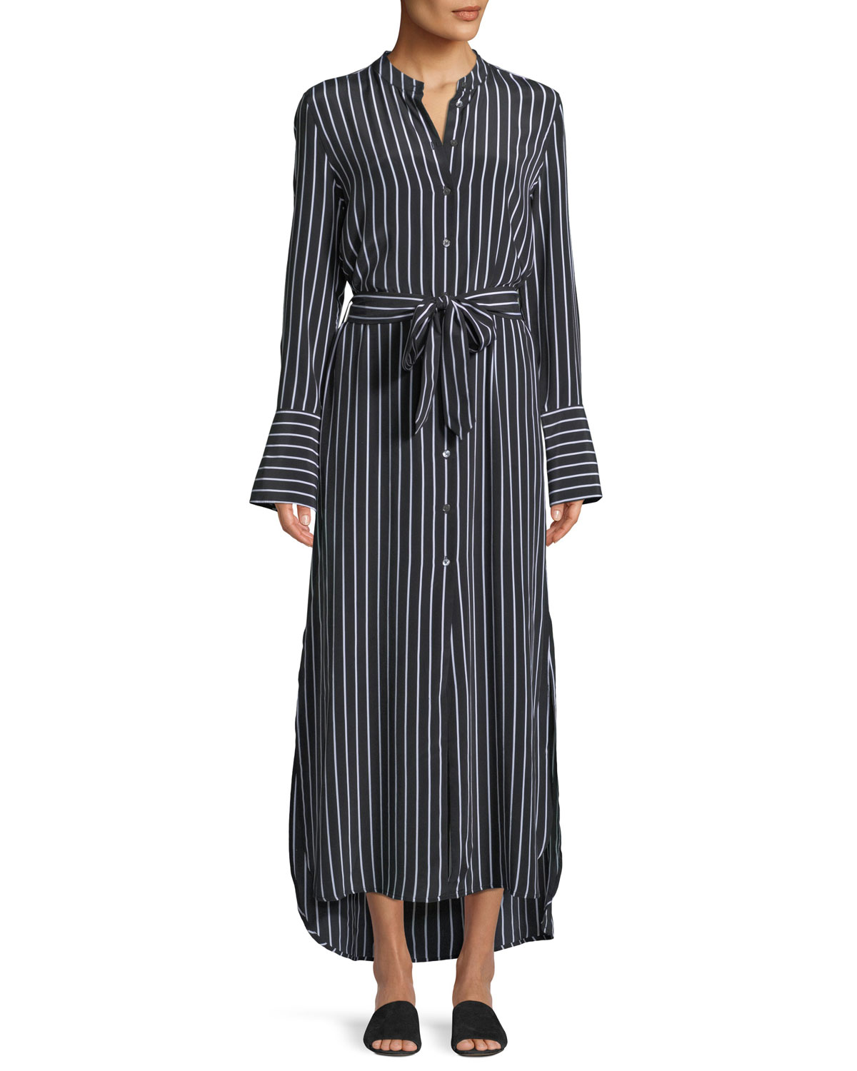Connell Excellence Striped Silk Button-Front Maxi Dress