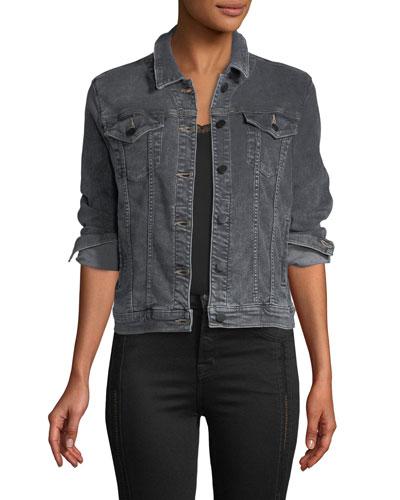 Slim Button-Front Denim Jacket