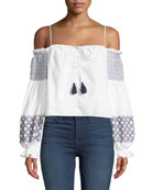 Tiffany Off-the-Shoulder Embroidered Poplin Top