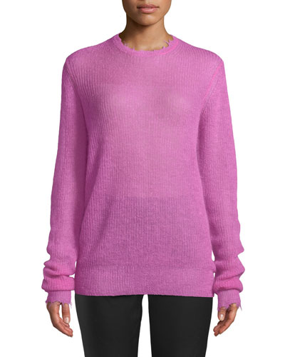 Featherweight Mohair-Blend Crewneck Sweater