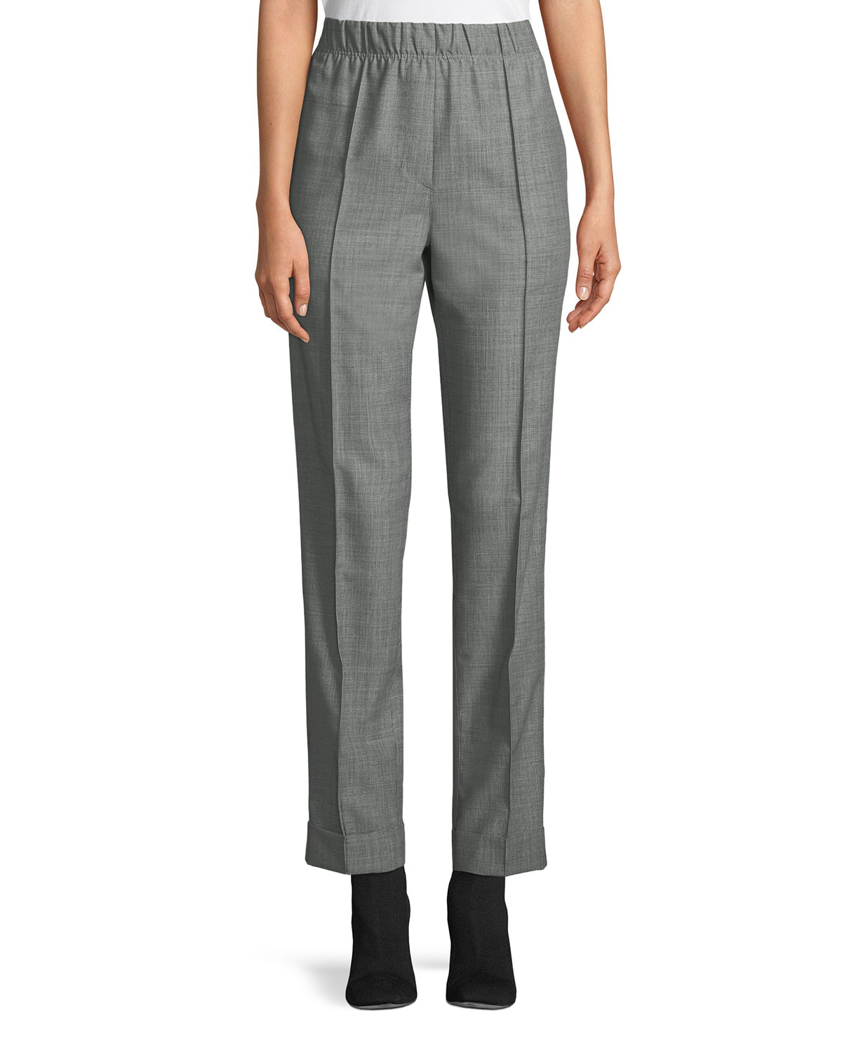 Pull-On Wool-Mohair Suit Pants