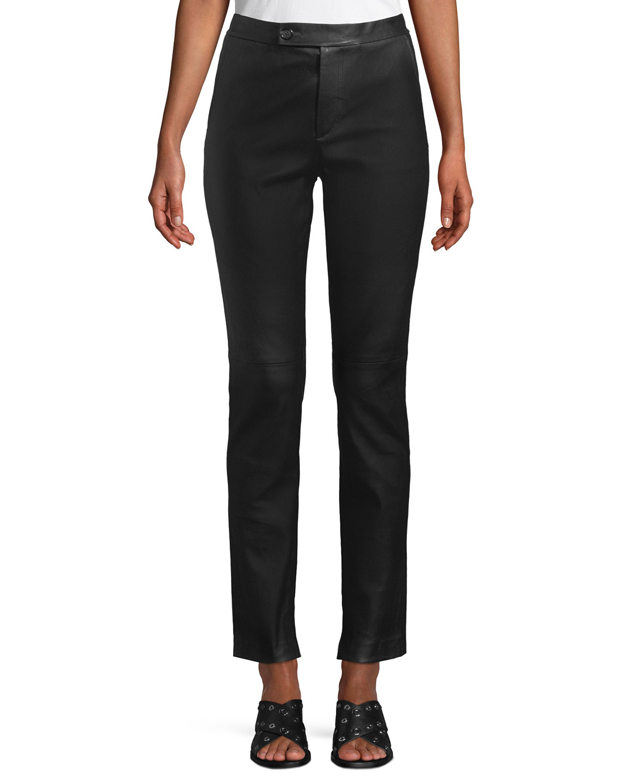 Straight-Leg Leather Suit Pants