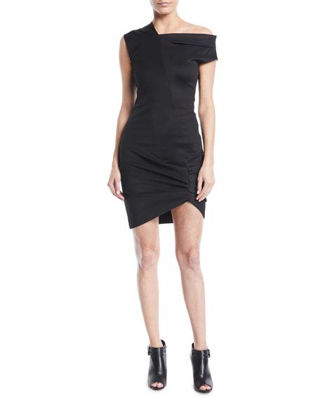 Helmut Lang Draped One-Shoulder Mini Dress