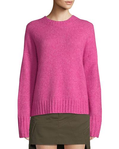 Brushed Wool-Alpaca Crewneck Sweater