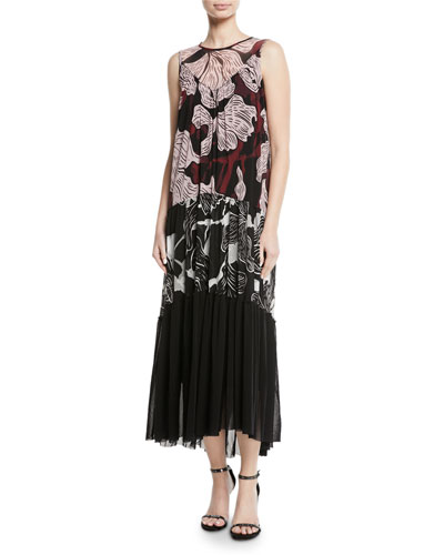 Patchwork Vino-Print Sleeveless Long Dress