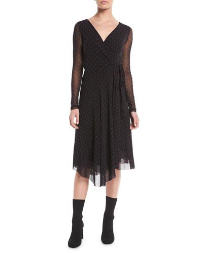 b770c83ba2 Quick Look. Fuzzi · Dot-Print Tulle Long-Sleeve Wrap Dress
