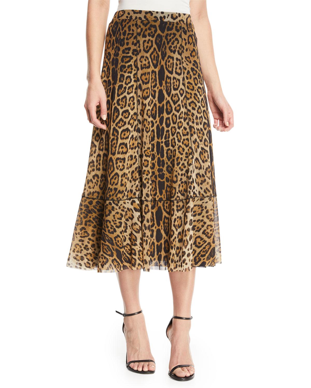 Leopard Animal-Print A-Line Tulle Skirt