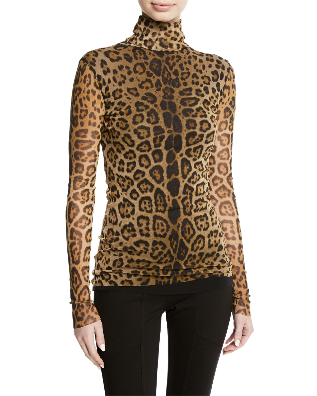 Leopard Animal-Print Long-Sleeve Turtleneck Top