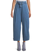 Via Belted Pleated Wide-Leg Pants