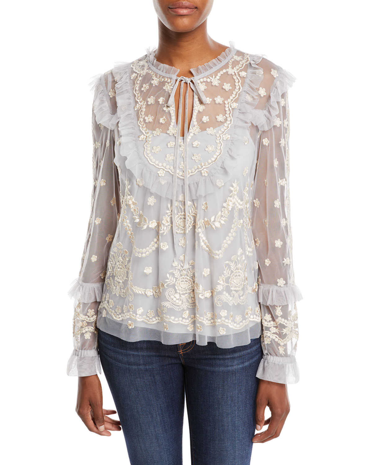 NEEDLE AND THREAD FLAPPER EMBROIDERED TULLE TOP