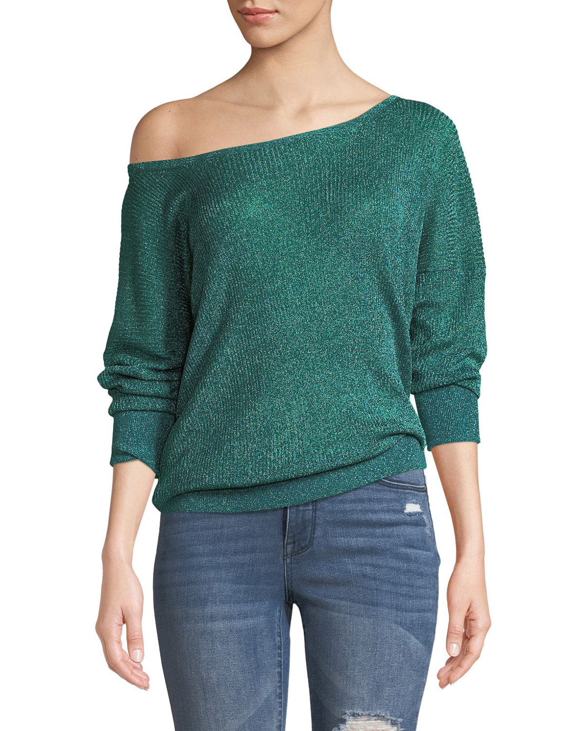 Ribbed Metallic Boat-Neck Sweater