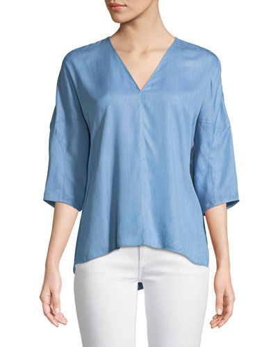 V-Neck 3/4-Sleeve Chambray Top