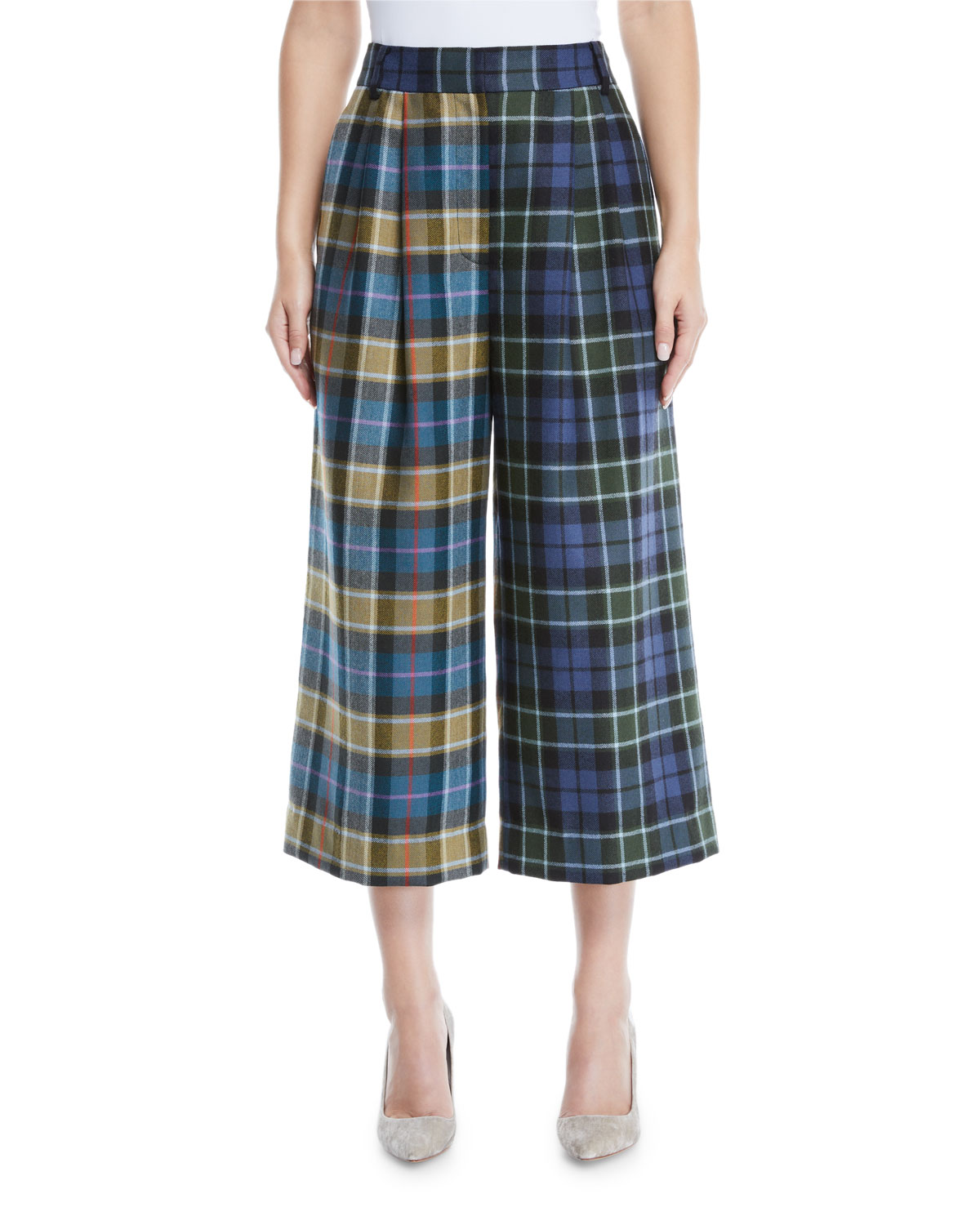 Stella Plaid Wool Wide-Leg Pants