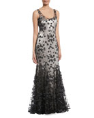 Sleeveless Lace Godet Slip Gown