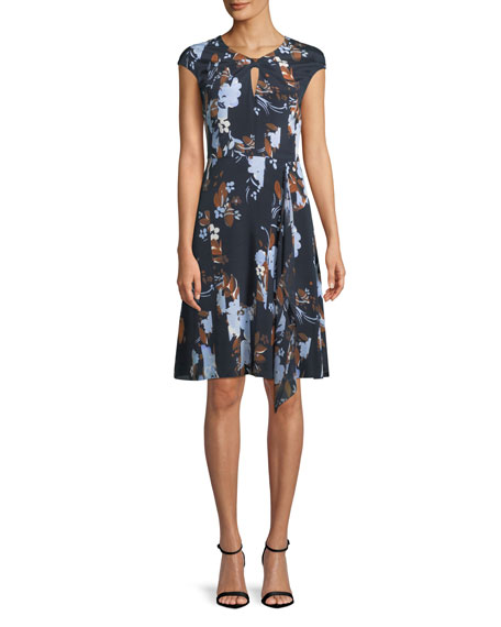 St. John Collection Cap-Sleeve Painted Floral-Print Dress