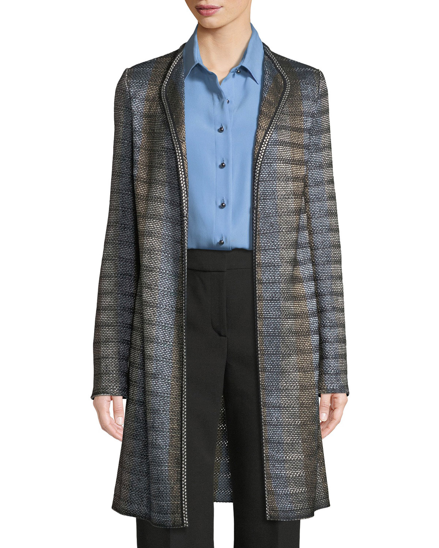 Inlaid Ribbon Knit Topper Jacket, Multi Pattern