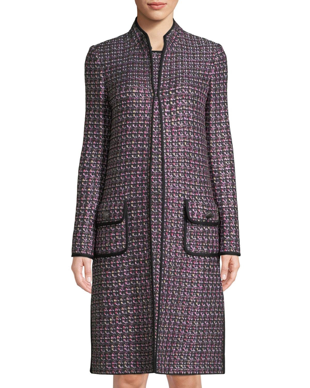 Painterly Sheen Tweed Knit Jacket, Multi Pattern