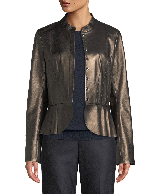 Pearlized Leather Peplum Jacket, Brown Metallic