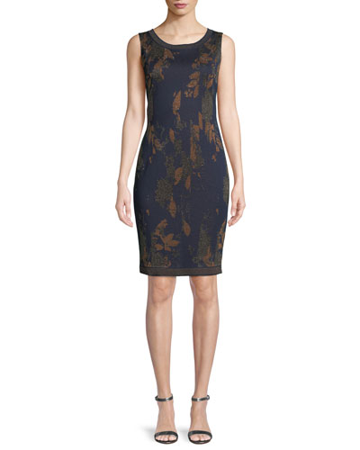 Leafed Copper Jacquard Knit Cocktail Dress