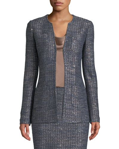 Copper Sequin Tweed Knit Jacket