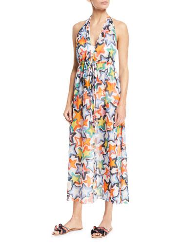 Katrina Printed Halter Maxi Coverup Dress