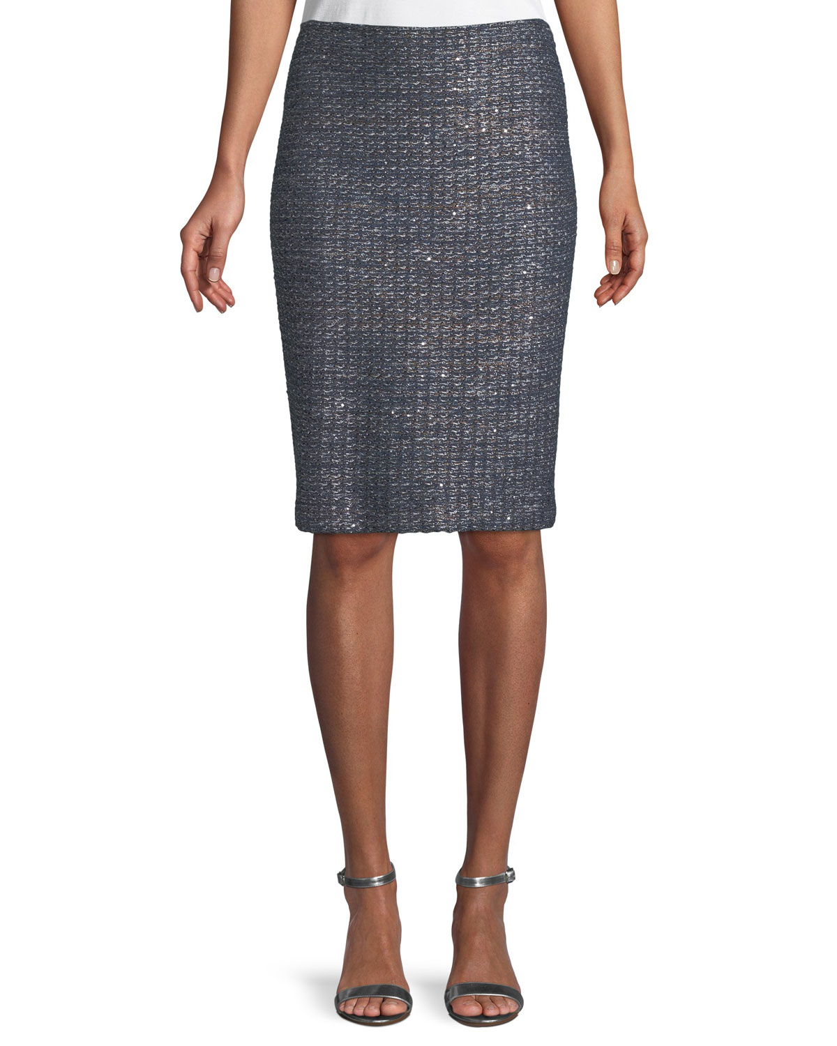 Copper Sequin Tweed Knit Skirt