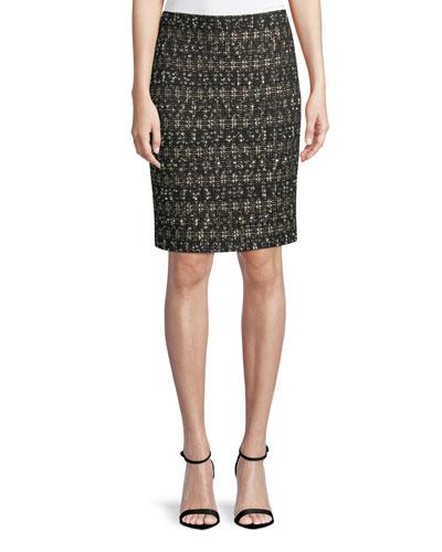Gilded Eyelash Pattern Knit Pencil Skirt