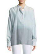 Flint Mandarin-Collar Long-Sleeve Ombre-Striped Shirt