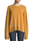 Oliver Crewneck Dropped-Shoulder Cashmere Pullover Sweater