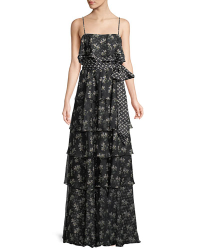 Tiered Floral Chiffon Sleeveless Gown