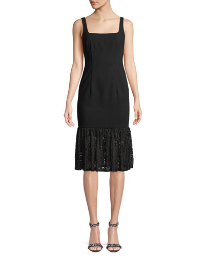 Arabelle Square-Neck Dress w/ Lace Ruffle