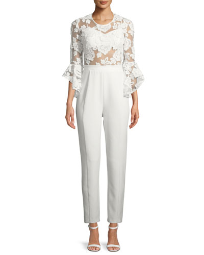Vivienne Bell-Sleeve Jumpsuit w/ Lace Overlay